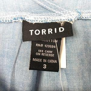 torrid Tops - Torrid Chambray Tank Top Sz 3 Sleeveless Pockets